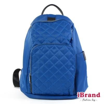 iBrand後背包 率性菱格紋後開式防盜尼龍後背包(M)-爵士藍