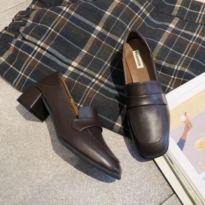 KEITH-WILL時尚鞋館 英倫格調增高百搭粗跟皮鞋-棕