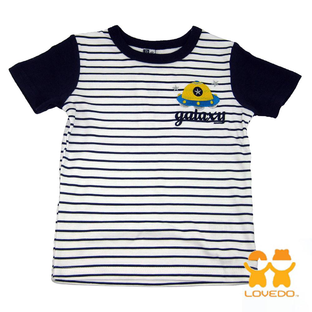 【LOVEDO-艾唯多童裝】星際飛碟 拼色條紋短袖T恤 (白)