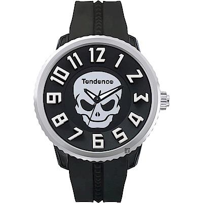 Tendence 天勢 立體數字骷髏手錶-黑/50mm(TG330004)