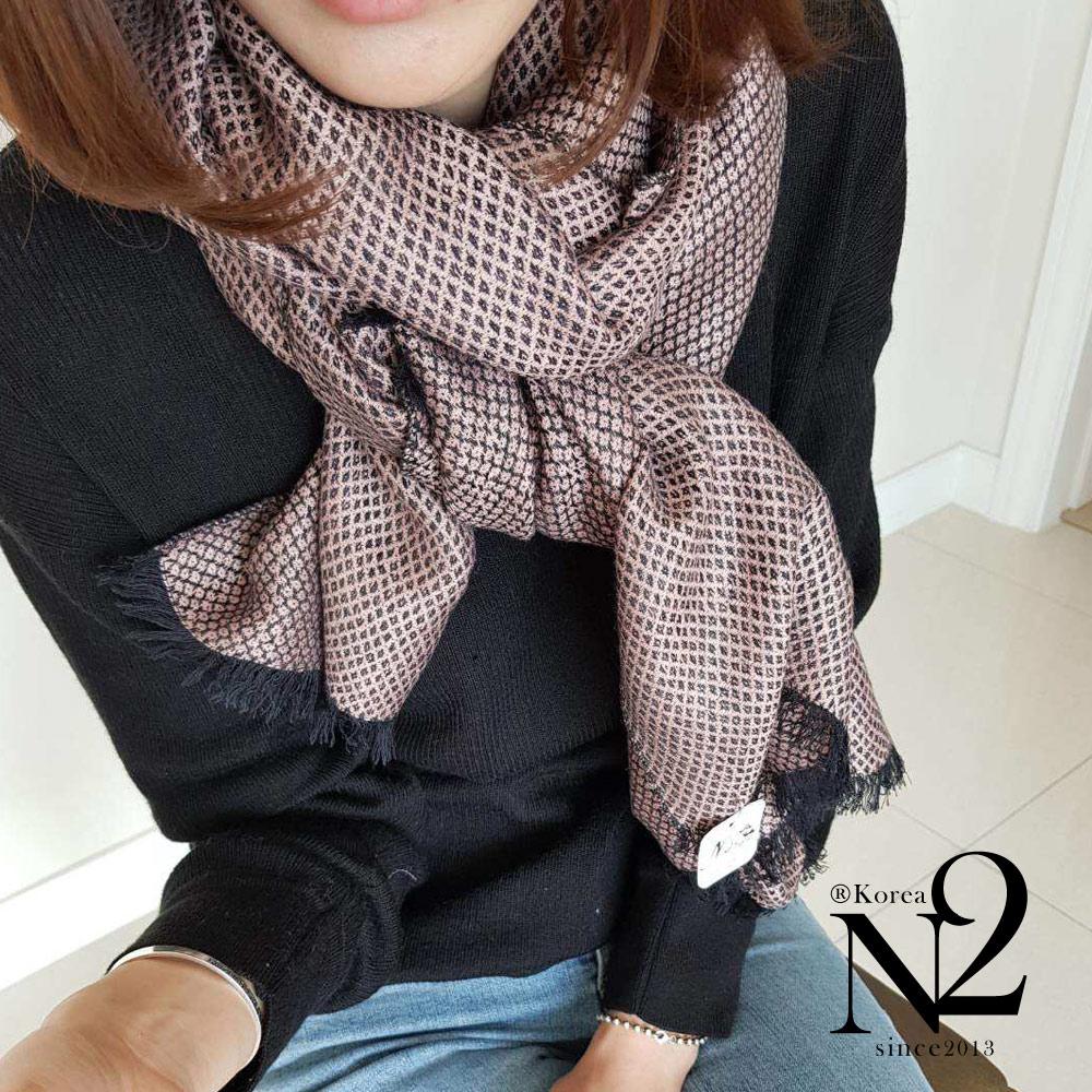 圍巾 正韓蕾絲網狀紋路親膚羊毛披肩圍巾(粉) N2