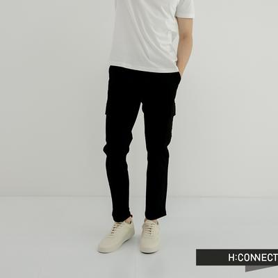 H:CONNECT 韓國品牌 男裝-大口袋抽繩工裝長褲--黑