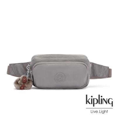 Kipling 沉穩時尚灰雙層隨身腰包-HOPE