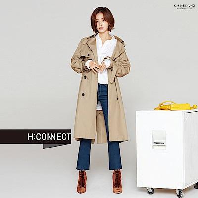 H:CONNECT 韓國品牌 女裝-質感刷色小喇叭牛仔褲-藍