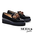 厚底鞋 MODA Luxury 復古時髦貂毛馬銜釦樂福厚底鞋-黑