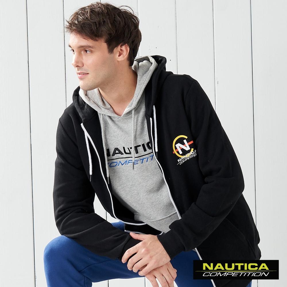 Nautica COMPETITION經典素色連帽長袖外套-黑色