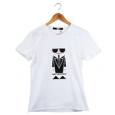 KARL LAGERFELD 黑色Q版卡爾短T恤 (白色)