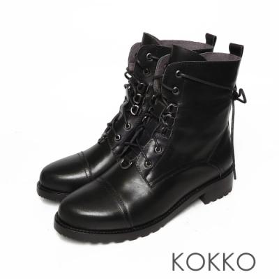 KOKKO高質感牛皮雙擦色綁帶短靴黑色