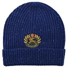 BURBERRY 電繡徽章LOGO羊毛材質針織毛帽(藍)