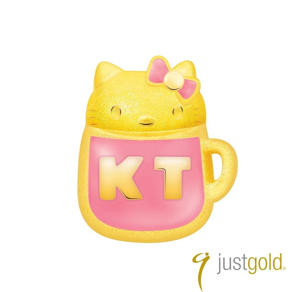 鎮金店Just Gold Hello Kitty 45周年純金系列 黃金單耳耳環-粉紅水杯