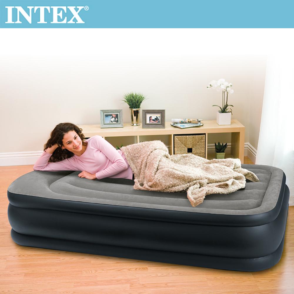INTEX《豪華三層圍邊》單人加大充氣床-寬99cm(內建電動幫浦)-灰色(64131)