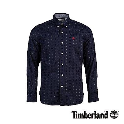 Timberland男款裡約紅修身緹花牛津長袖襯衫A1WSA