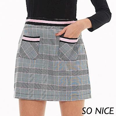 SO NICE俏麗威爾士格紋口袋短裙