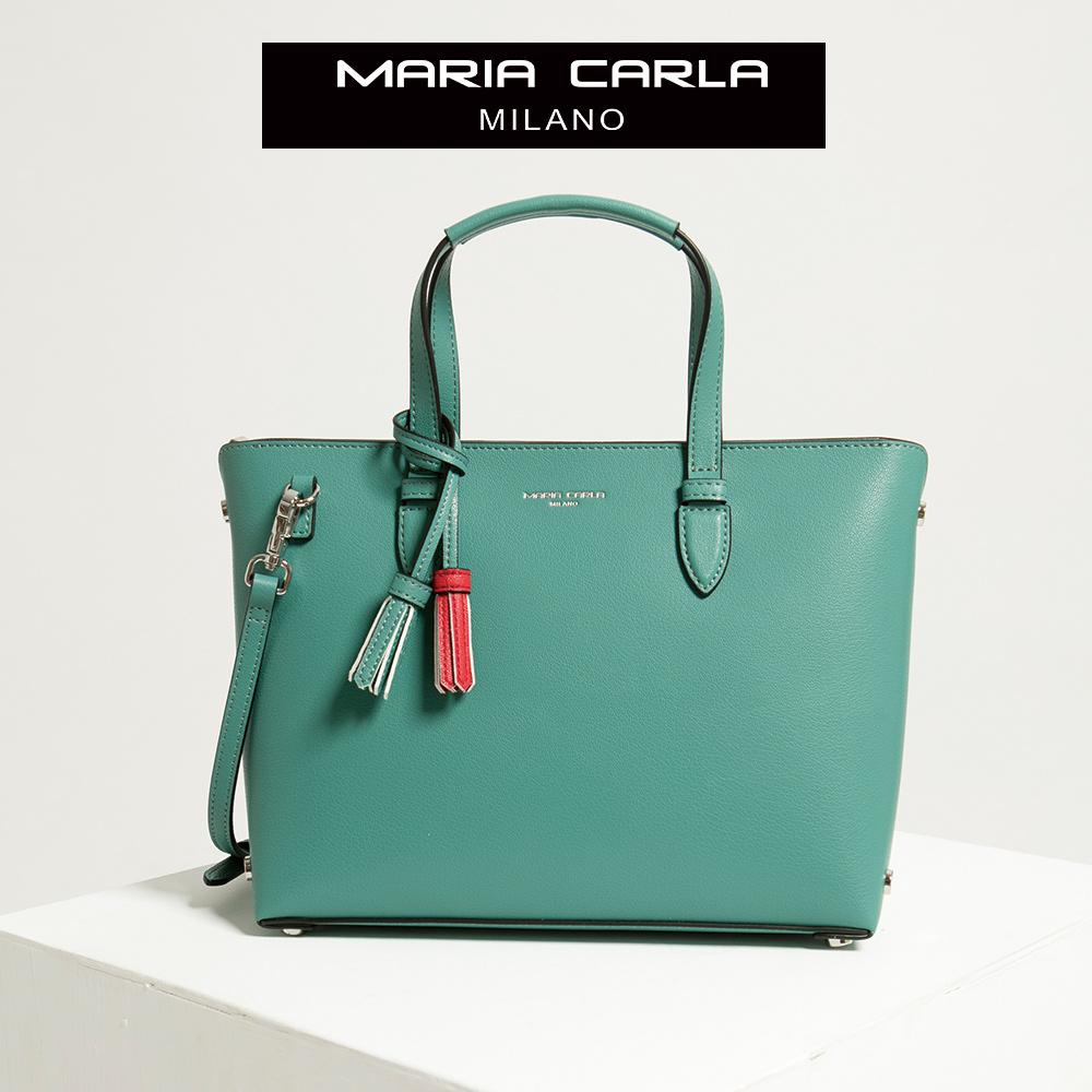 【Maria Carla】松柏綠_拉鏈式手提側背托特包(L)_日光休閒_二層牛皮