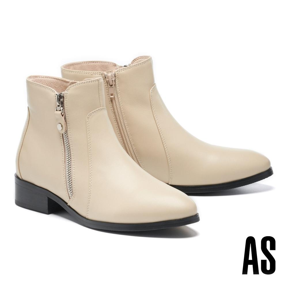 短靴 AS 率性百搭雙側拉鍊造型牛皮低跟短靴-米