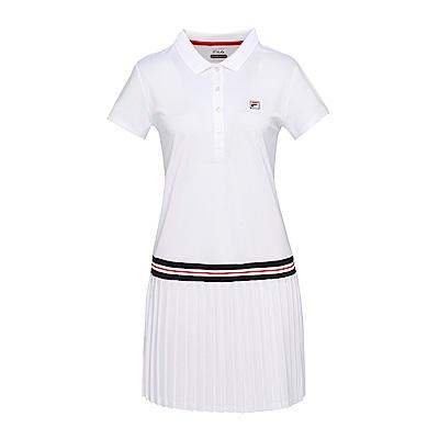 FILA女抗UV吸濕排汗洋裝-白 5DRS-5008-WT