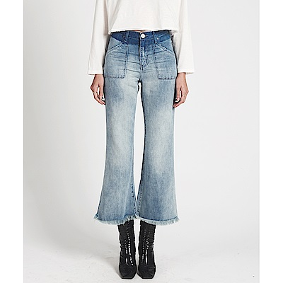 OneTeaspoon 高腰牛仔寬褲 CROPPED WIDE LEG- 女(藍)