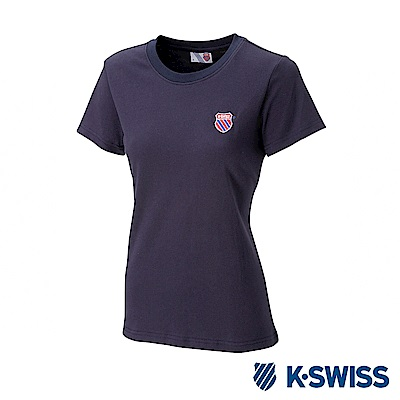 K-SWISS Wintage Shield Logo Tee印花短袖T恤-女-藍