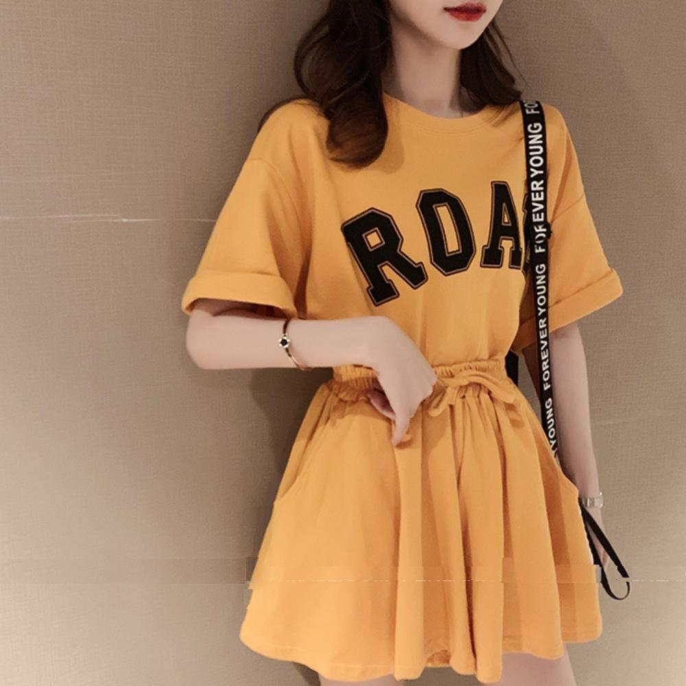 La BellezaROAD字母印花上衣加抽繩短褲裙套裝