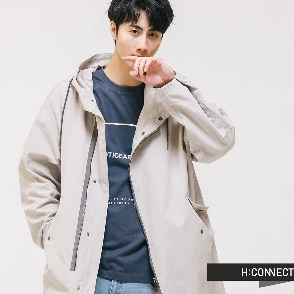 H:CONNECT 韓國品牌 男裝 -率性抽繩風衣外套-灰