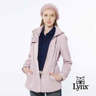 【Lynx Golf】女款防風潑水款微長版刷毛內裡長袖可拆式小千鳥紋連帽外套-粉色