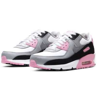 NIKE 運動鞋 經典款 氣墊 避震 穿搭  大童 女鞋 白粉灰 CD6864104 AIR MAX 90 LTR GS