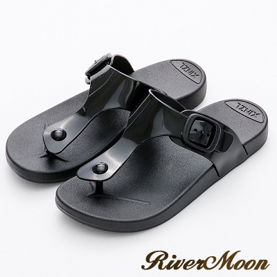 River&Moon拖鞋-休閒百搭Q軟防水夾腳涼拖鞋-黑色
