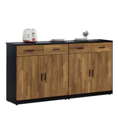 文創集 麥波時尚5.3尺黑岩石面餐櫃/收納櫃-160.2x41x84.5cm免組