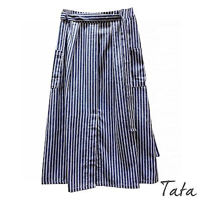 直條紋口袋綁帶棉麻裙 共二色 TATA