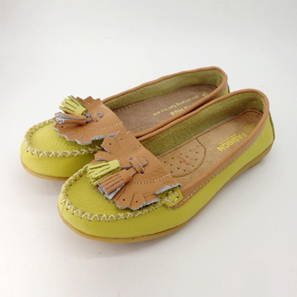 韓國KW美鞋館-(現貨)雙色百搭流蘇造型真皮鞋(共1色) (黃)