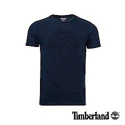 Timberland 男款深藍色立體印花LOGO短T恤|A1X3N