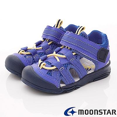 日本月星頂級童鞋 運動護趾涼鞋 FI125藍(中小童段)