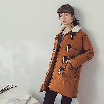 純色毛領牛角釦羽絨棉大衣外套-OB大尺碼