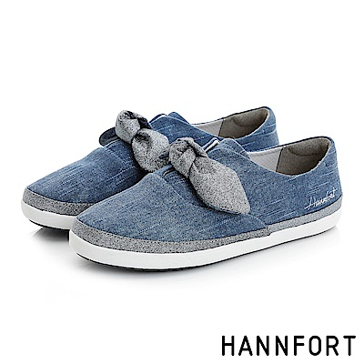 HANNFORT CALIFORNIA金沙扭結丹寧休閒鞋-女-牛仔藍