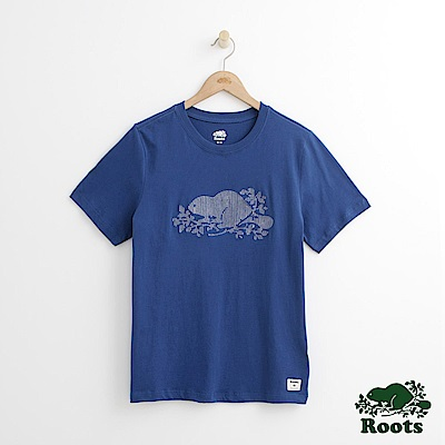Roots 男裝-刺繡海狸短袖T恤-藍色