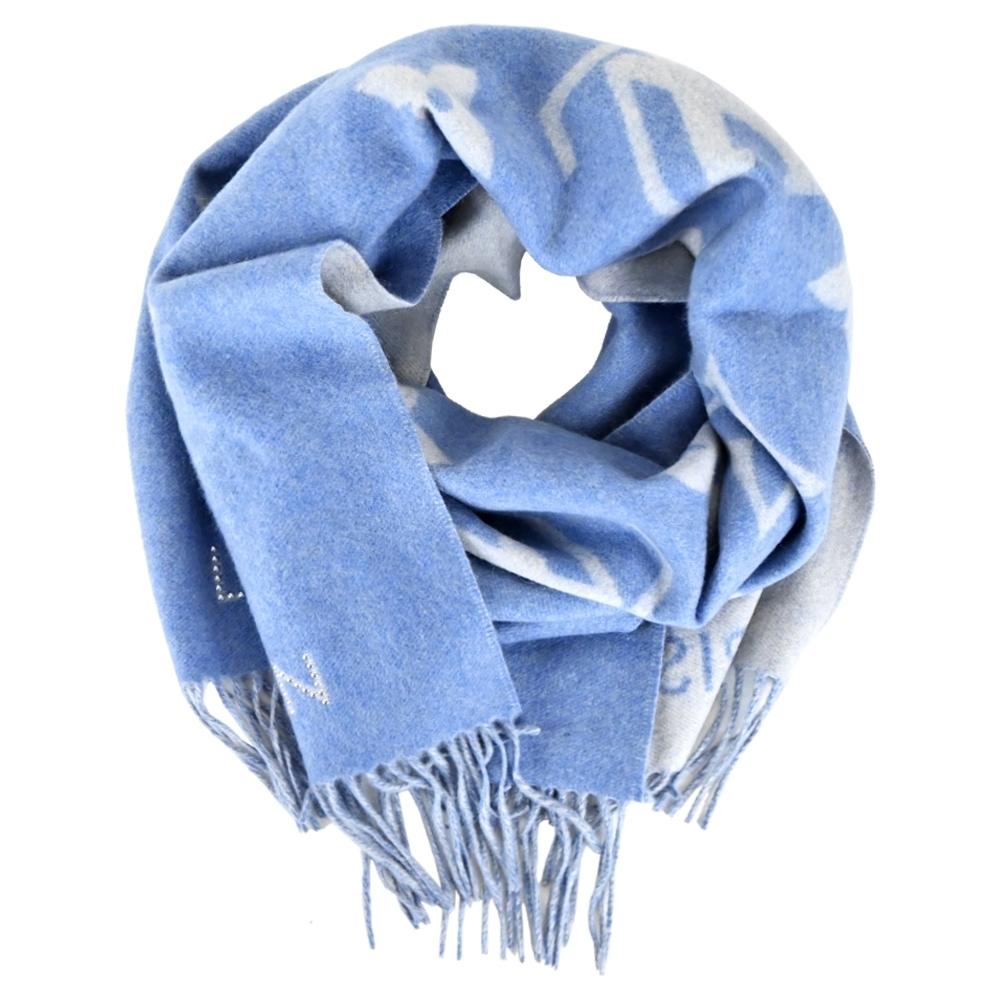 Louis Vuitton Studdy Reykjavik 羊毛提花編織金屬飾釘流蘇圍巾(藍灰)