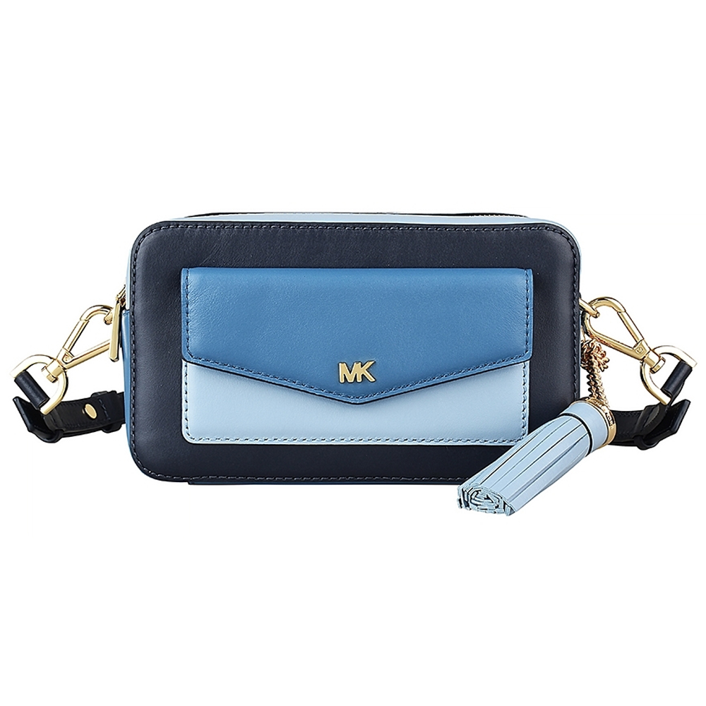MK MICHAEL KORS 金字LOGO流蘇設計牛皮拉鍊斜背包(小/深藍/三色)