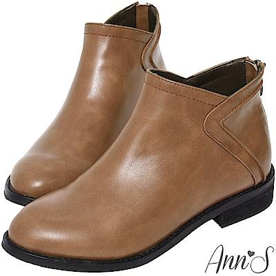 Ann'S高實穿性-立體縫線顯瘦V型切口平底短靴-咖