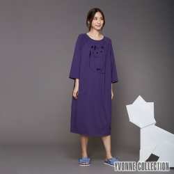 YVONNE 手繪貓咪七分袖洋裝-暗紫