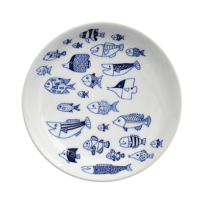 Natural69 波佐見燒 CocoMarine系列 前菜碟 13cm 魚之散策 日本製