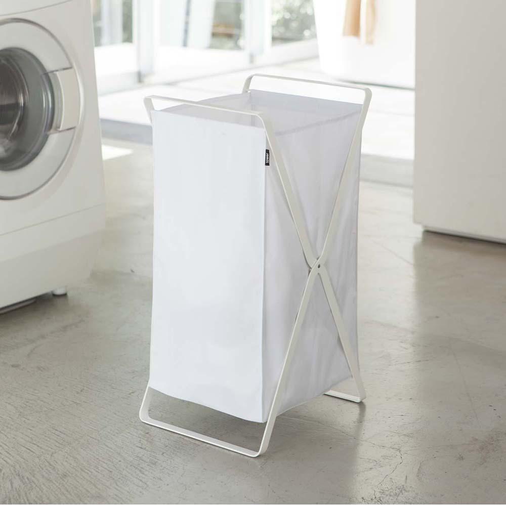 【YAMAZAKI】tower可折疊洗衣籃-白★洗衣袋/萬用收納/衛浴收納/居家收納