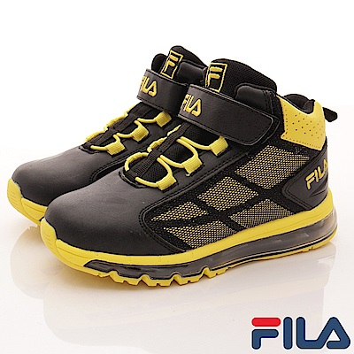 FILA頂級童鞋款 氣墊籃球鞋款 EI15Q-299黑黃(中大童段)