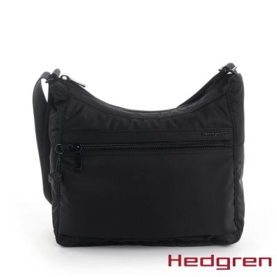 【Hedgren】INNER CITY輕量 彎月水餃側背包-墨黑(S)