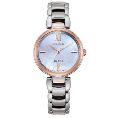 CITIZEN  L 光動能珍珠貝時尚手錶EM0536-84Y-半金/29mm