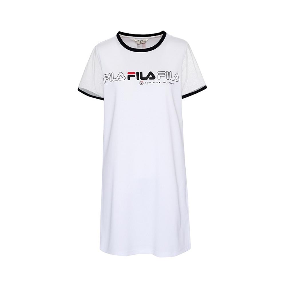 FILA 女吸濕排汗針織洋裝-白色 5DRV-1717-WT