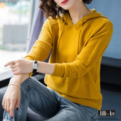 JILLI-KO 簍空混織連帽抽繩毛衣- 黃/藍