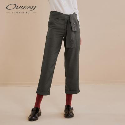 OUWEY歐薇 都會感造型綁帶西裝直筒褲(灰)