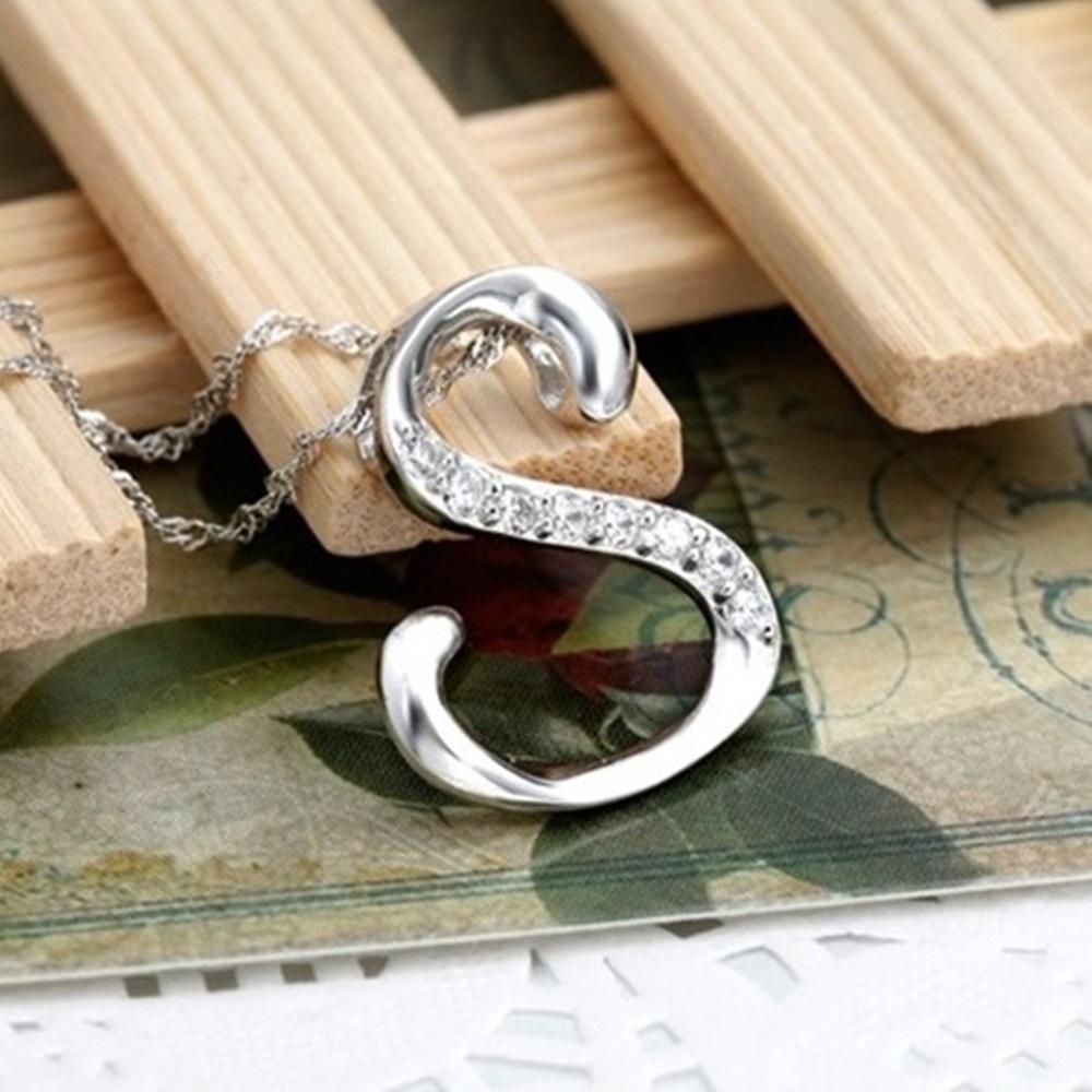 米蘭精品 925純銀項鍊-時尚簡約S英文字母