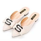 River&Moon穆勒鞋.S扣飾低跟穆勒鞋-米
