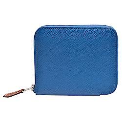 HERMES 經典silk in系列EPSOM小牛皮拉鍊絲巾零錢包(藍)